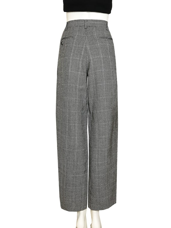 100% wool glen check pleated trousers / Japanese … - image 4