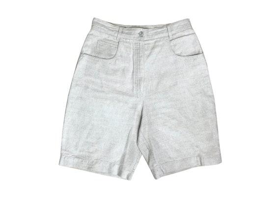90s high waisted oatmeal linen shorts / High rise