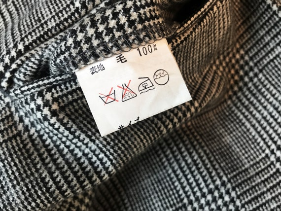 100% wool glen check pleated trousers / Japanese … - image 10
