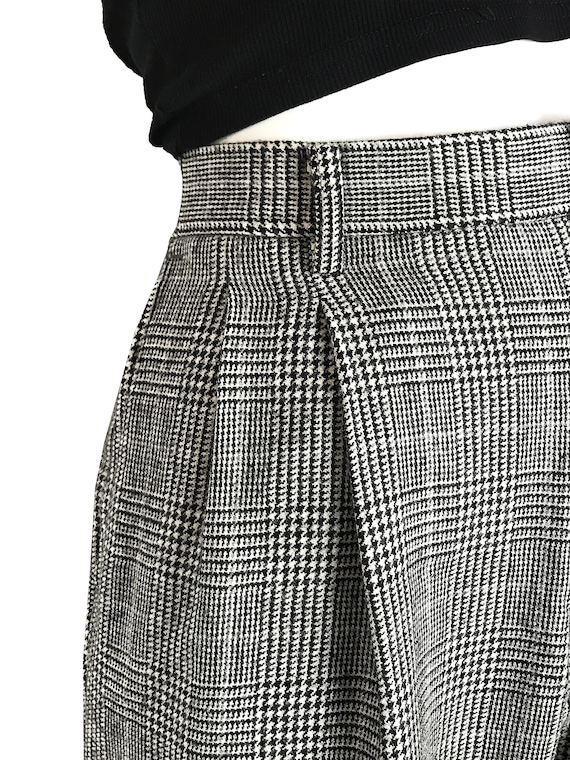100% wool glen check pleated trousers / Japanese … - image 7