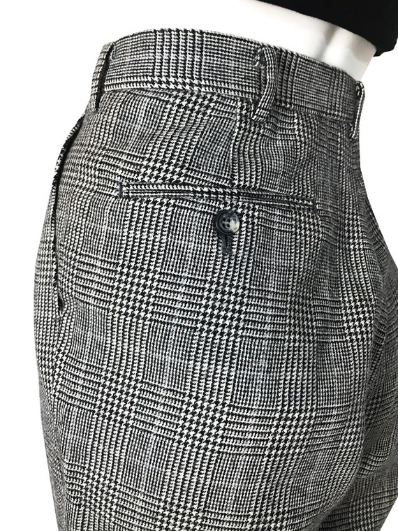 100% wool glen check pleated trousers / Japanese … - image 8