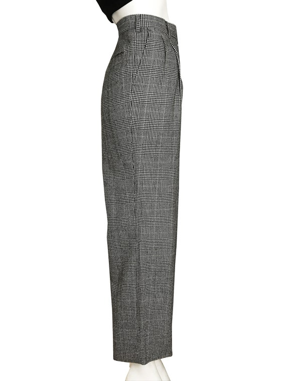 100% wool glen check pleated trousers / Japanese … - image 3