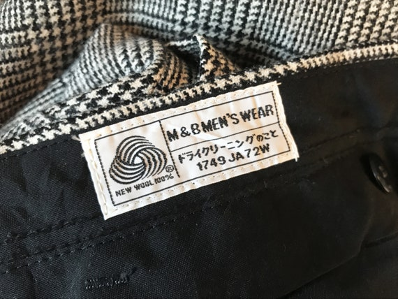 100% wool glen check pleated trousers / Japanese … - image 9