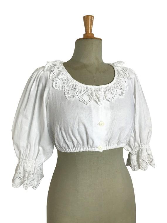 RARE vintage dirndl austrian cropped blouse / Puff