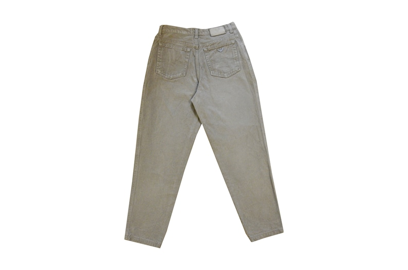 023cf123 Vintage 90's / Armani high waisted tapered jeans / Dark beige denim slim  cropped ankle mom jeans / W28,5 L27