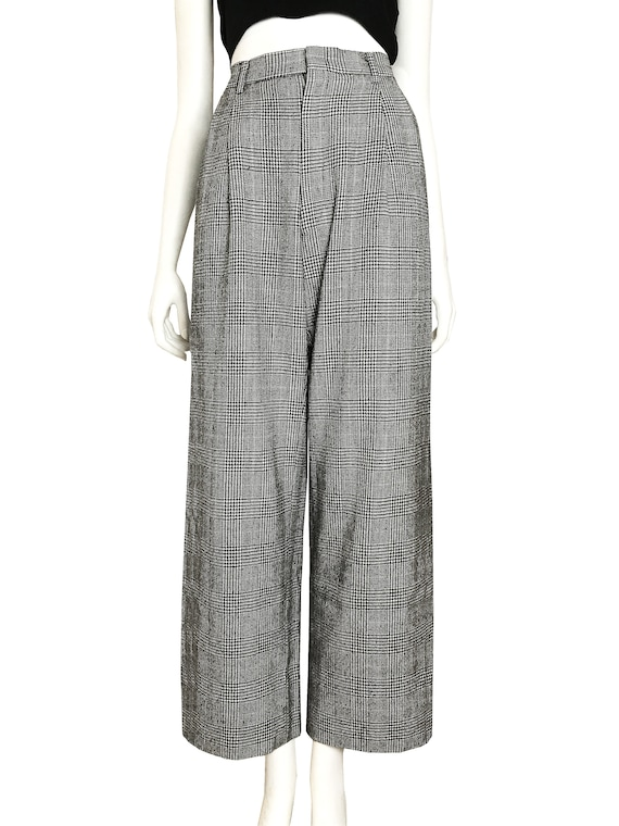 100% wool glen check pleated trousers / Japanese … - image 2