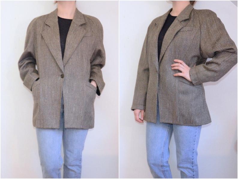 Vintage 80's / Tweed blazer brown wool / Raglan sleeves image 0