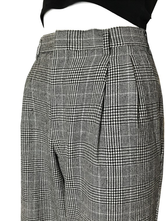 100% wool glen check pleated trousers / Japanese … - image 6