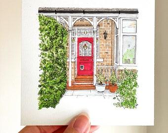 Cute 12cm square front door sketch, bespoke personalised gift