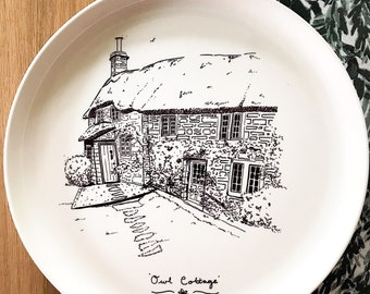 Personalised house portrait on ceramic plate