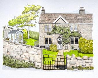 A3 house portrait illustration. Pen and ink.