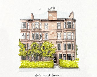 A5 Custom house portrait. Pen and ink.