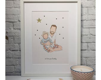 Personalised father and child portrait, gift for Dad