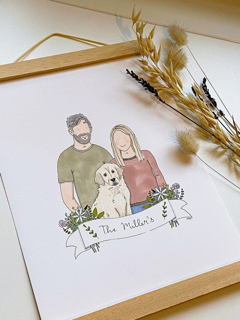 Family portrait in pen and ink. Personalised. image 1