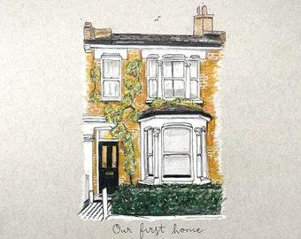 A5 custom house portrait in coloured pencil.