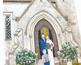 Wedding venue portrait in pen and ink. Personalised.