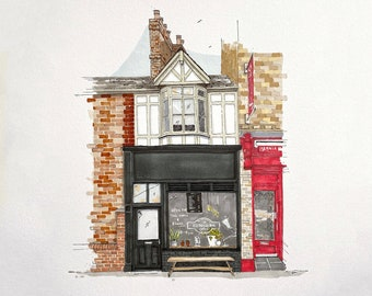 Cafe or shop front portrait in pen and ink