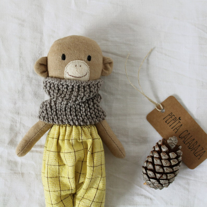Whimsical and delightful organic stuffed handmade monkey doll by Pepita Calabaza on Etsy. Come discover Handmade Decor and Unique Finds from Etsy Award Finalists: Hello, Lovely Makers!