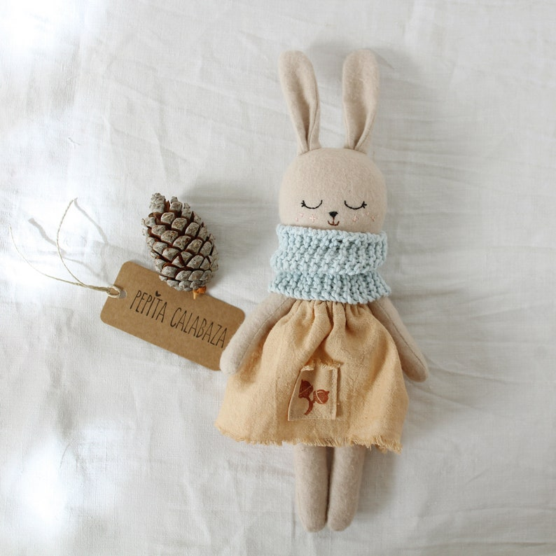 Darling stuffed bunny doll is handmade and organic by Pepita Calabaza on Etsy. Come discover Handmade Decor and Unique Finds from Etsy Award Finalists: Hello, Lovely Makers!