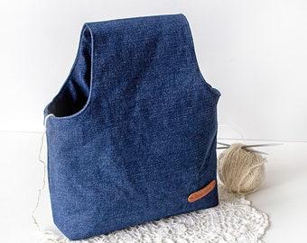 Denim knitting bag Small Sock bag Wristlet Project bag for crochet knitting tote Yarn Needlecraft bag Knitters man gift Knitting gift