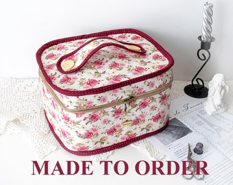 Large Zipper Cross stitch Quilting Craft Sewing case Project bag organizer Sewing storage box Gift for sewer quilter Sewing travel set
