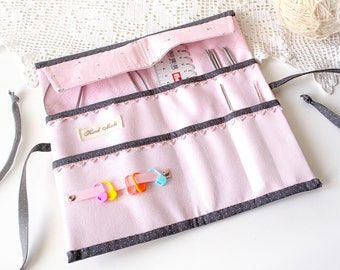 Pink middle circular knitting needle case Crochet hook holder Needle storage Knitting gift Knitting accessories organizer Travel needle case