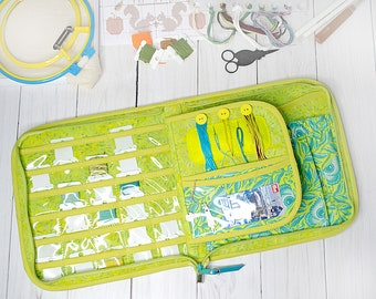 Q-snap 8 inch zipper cross stitch tools project case, hand embroidery thread floss storage organizer, gift for stitcher wife