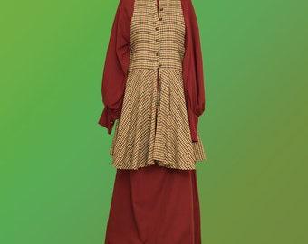 Fantasy dress with woolen tartan dress - celtic dress scottish dress larp fantasy festival renaissance fair medieval dress country dress