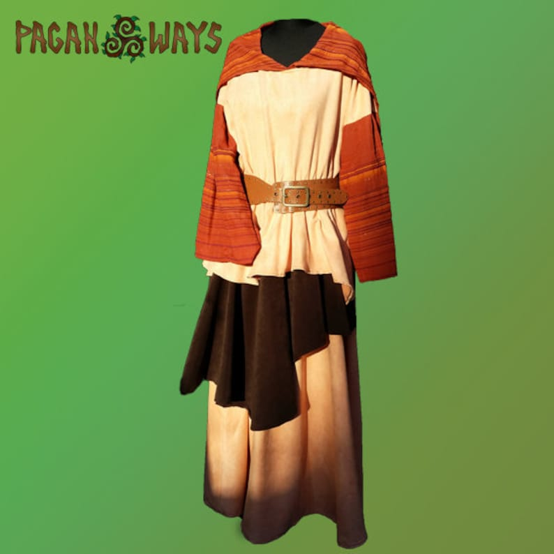 Fantasy dress  orange brown and peach  pagan Celtic Avalon image 0