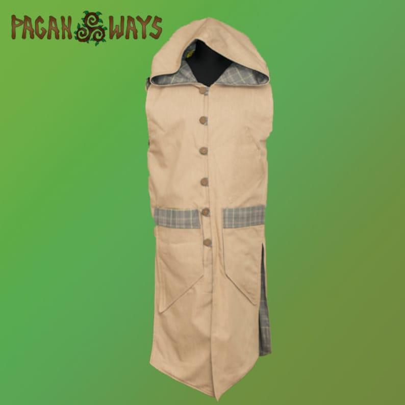 Beige hooded pixie jacket with tartan  fantasy hoodie celtic image 0