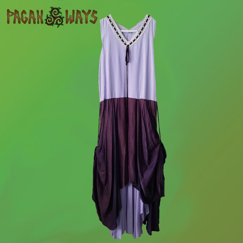 Linen lilac fantasy summer dress with purple overskirt  image 0