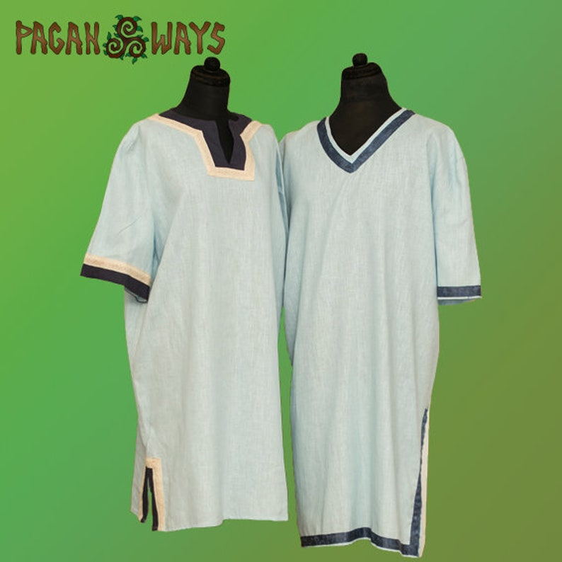 Linen medieval tunic with ribbon  middle ages pagan fantasy image 0