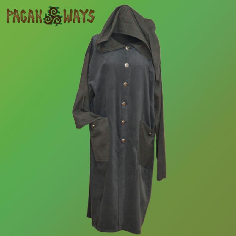Green hooded fantasy summer jacket  pagan bohemian viking image 0