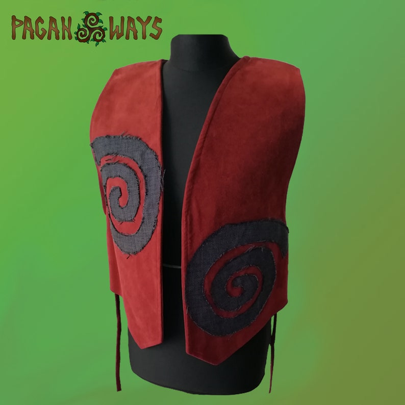 Alcantara vest with magical spiral decoration  for Vikings image 0