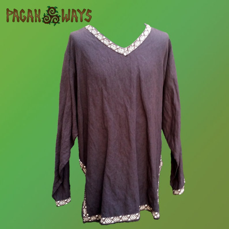 Linen Viking tunic  brown linen tunic with woven brown ribbon image 0