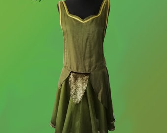 Cute green fairy dress with layered skirt - faerie fae pixie Celtic nymph nature magical laced fantasy dress