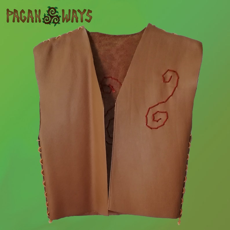 High quality brown leather vest with magical spiral decoration image 0