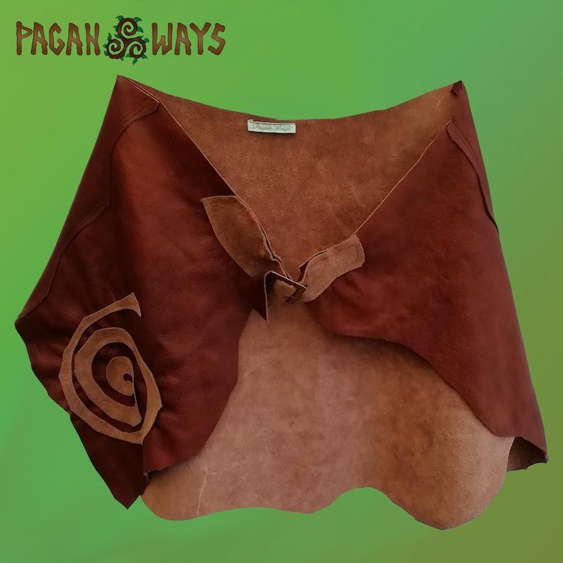 Dark brown leather / suede hipskirt with spiral  pagan image 0