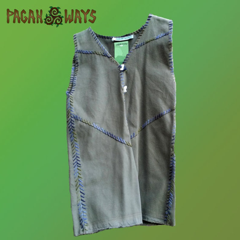 Pagan fantasy vest  green woolen vest with green blue thread image 0
