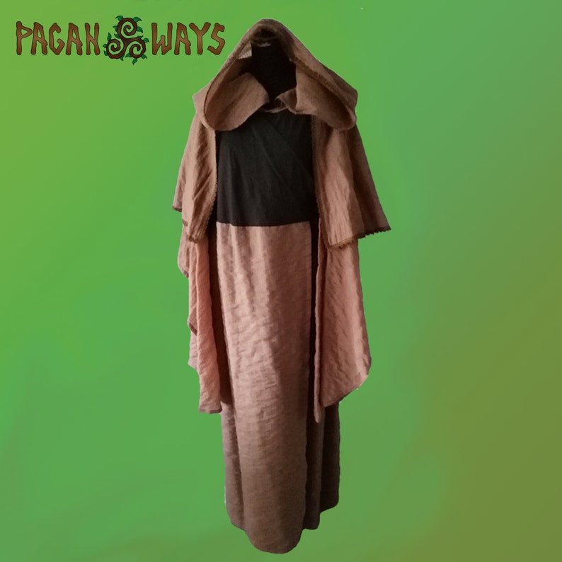 Beige sand color and brown pagan fantasy dress with wide image 0