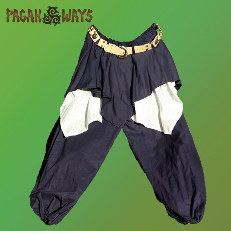 Baggy pagan fantasy pants  dark blue trousers with white blue image 0