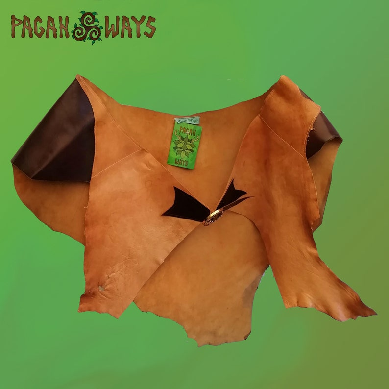 Cool brown leather / suede hipskirt  pagan bohemian hippie image 0