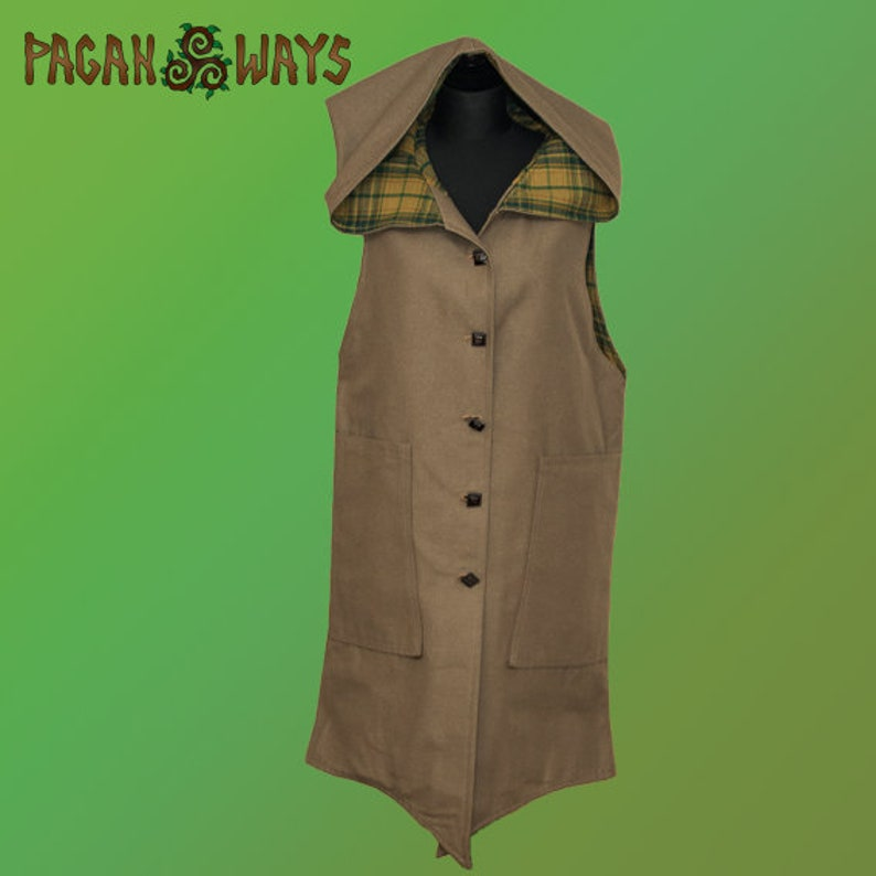 Brown hooded pixie jacket with yellow tartan  fantasy hoodie image 0