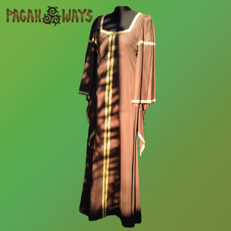 Celtic Avalon dress  brown dress with long sleeves and golden image 0