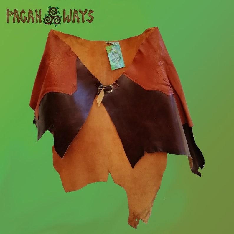 Brown leather / suede tribal pagan hipskirt  cool bohemian image 0