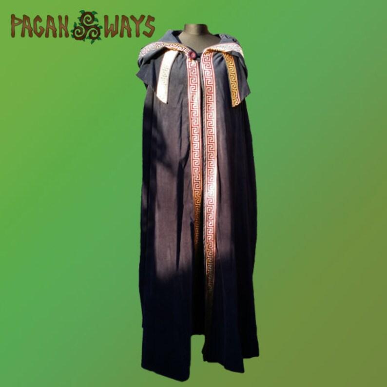 Greek Roman cloak / robe / cape  dark blue with a hood cape image 0