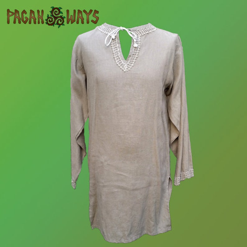Linen pagan tunic  off-white / light brown linen tunic  image 0