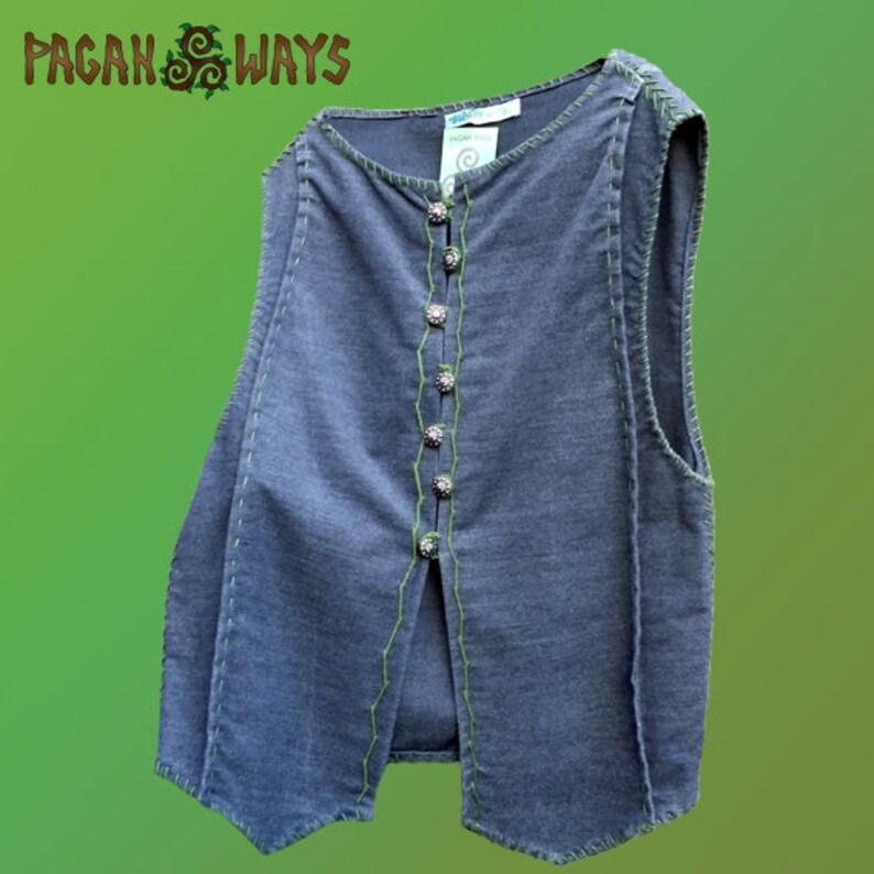 Pagan fantasy vest  gray woolen vest with green thread  image 0