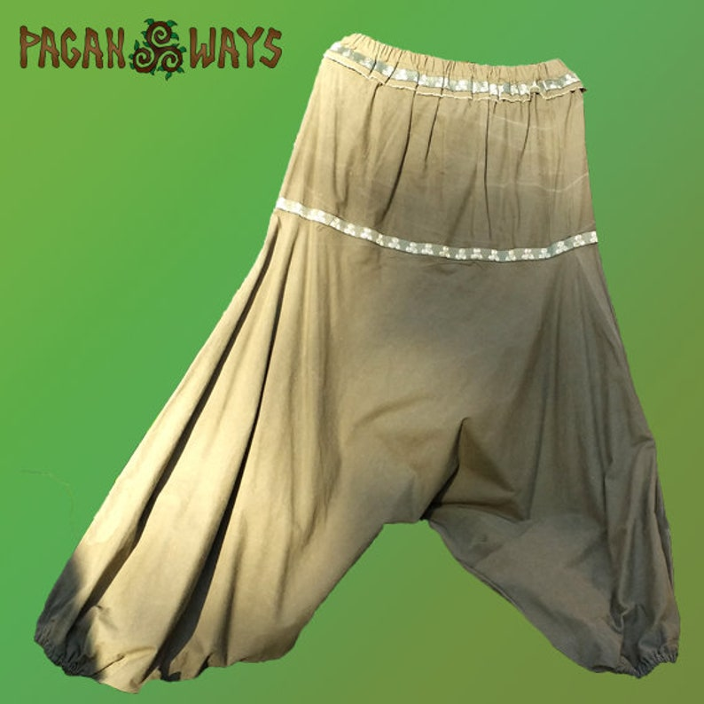Baggy Celtic harem pants  green harem trousers with triskel image 0