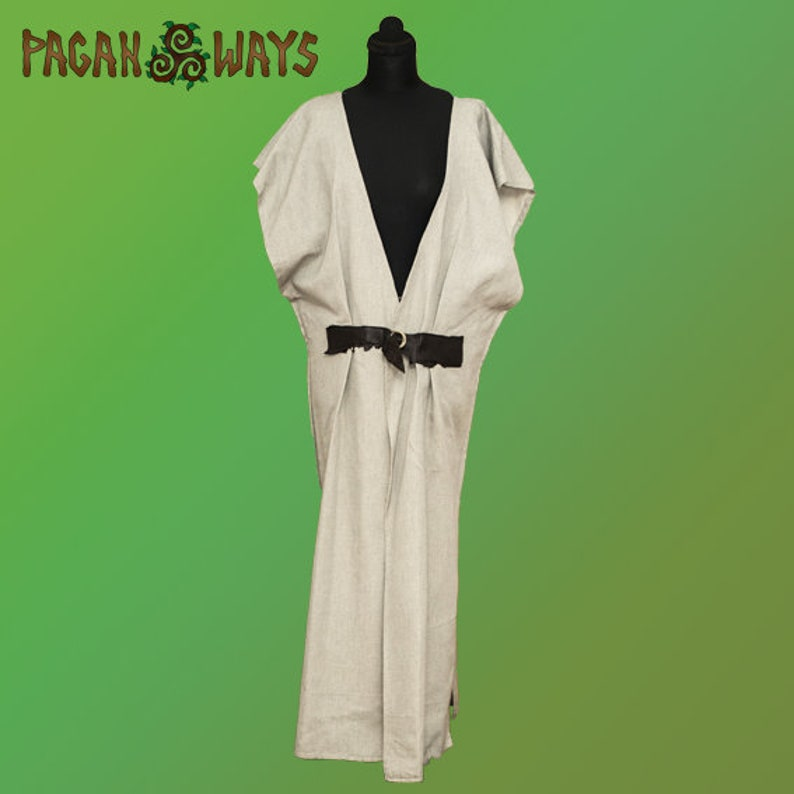 Long tunic with leather closing  pagan fantasy larp image 0